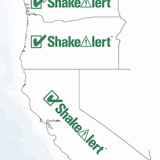 map of Washington, Oregon, and California with ShakeAlert logo and checkmark over the states