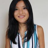 headshot of EPS Professor Harriet Lau; female with long, black hair, wearing striped, sleeveless blouse and a necklace with a pearl
