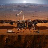 Depiction of the InSight mission lander, which is scheduled for launch in May and expected to land on the surface of Mars in November to probe the interior of the planet. NASA image.